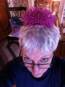Susan w purple squeegee on head